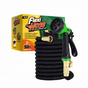 Flexi Hose Upgraded Expandable Garden Hose, Extra Strength, 3/4″ Solid Brass Fittings – The Ultimate No-Kink Flexible Water Hose, 8 Function Spray Included (50 FT, Black)