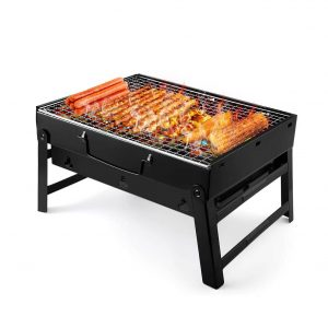 """UTTORA Barbecue Grill, Portable Folding Charcoal Barbecue Desk Tabletop Outdoor Stainless Steel Smoker BBQ for Picnic Garden Terrace Camping Travel 15.35""""x11.41""""x2.95′"""