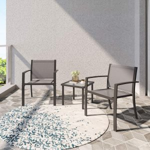Garden Furniture Set 2 Seater, Indoor Outdoor 3 Piece set Patio Furniture Set, Garden Table and Chair 4 seater, 2 ArmChairs + Glass Coffee Table Suitable for Patio Backyard Poolside (Brown)