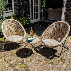 Dawsons Living Faux Rattan Bistro Set – Choice of Colours – Conservatory Garden Patio and Decking Furniture Chairs and Glass Top Table Set